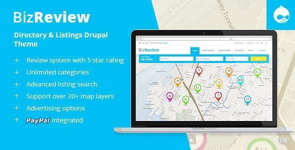 BizReview - Directory Listing Drupal 9 - 8 - 7 Theme