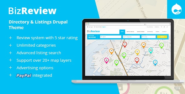BizReview - Directory Listing Drupal 9 - 8 - 7 Theme - Corporate Drupal