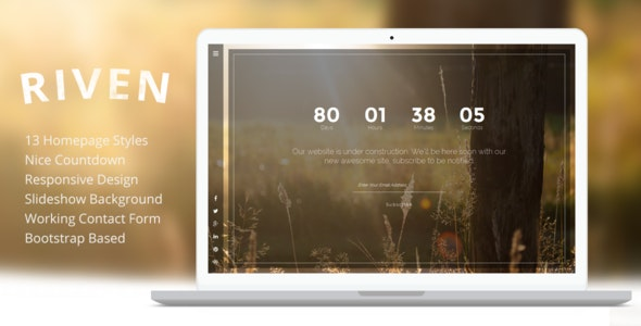 Riven - Responsive Coming Soon Template - Under Construction Specialty Pages