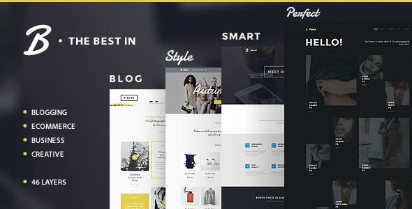 B - Business, Blog and Portfolio Template - Corporate Photoshop