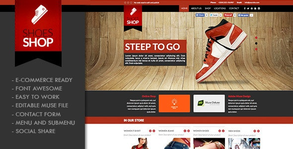 Shoes Shop Muse Template - Creative Muse Templates