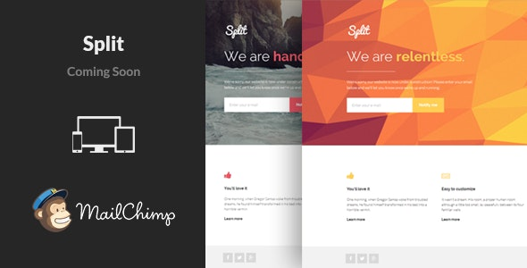 Split - Responsive Coming Soon Template - Under Construction Specialty Pages