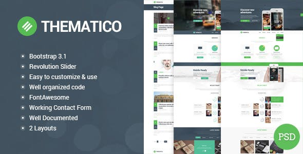 Thematico - Single Page HTML5 Template