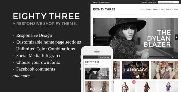 Eighty Three - Responsive Shopify Theme - Shopify eCommerce