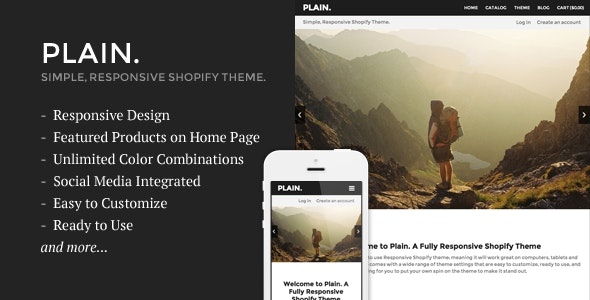 Plain - Responsive Shopify Theme - Shopify eCommerce