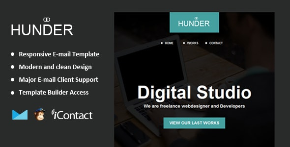 Hunder - Responsive Email + Themebuilder Access  - Email Templates Marketing