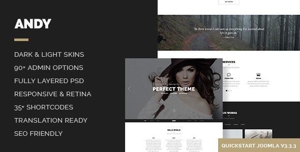 Andy – Elegant Creative Minimal One Page Template - Creative Joomla