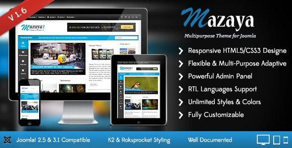Mazaya Responsive Joomla News, Multipurpose Theme - Joomla CMS Themes