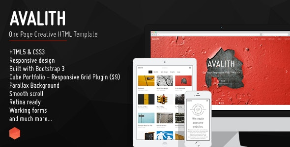 Avalith - One Page Creative HTML Template - Creative Site Templates