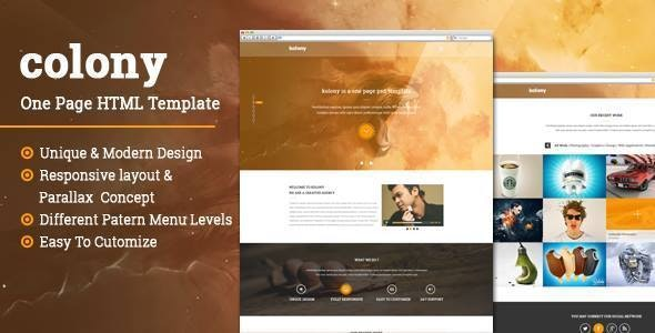 Colony One Page  Parallax HTML Template - Creative Site Templates