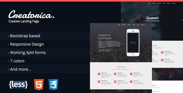 Creatorica - Responsive Bootstrap Landing Page
