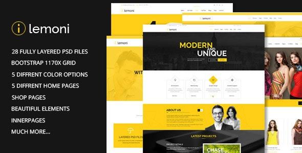Lemoni - Pixel Perfect & Multipurpose PSD Template - Corporate Photoshop