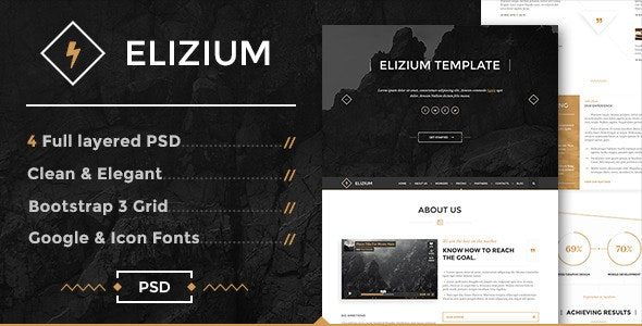 Elizium - One Page PSD Template - Corporate Photoshop