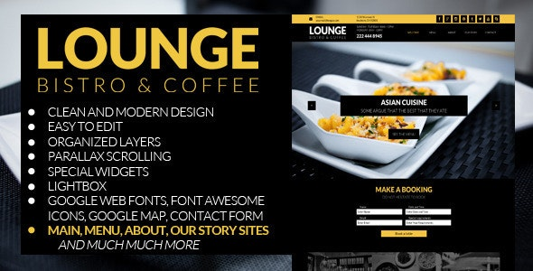 Lounge - Multipage Restaurant Business Muse Theme - Corporate Muse Templates