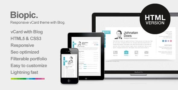 Biopic - Responsive Resume HTML5 Template - Virtual Business Card Personal