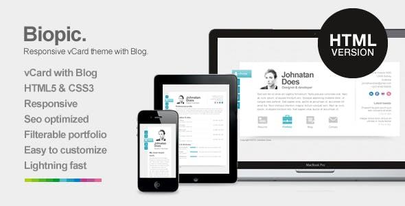 Biopic - Responsive Resume HTML5 Template