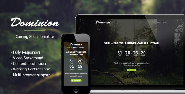 Dominion - Responsive Coming Soon Template - Under Construction Specialty Pages