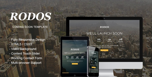 Rodos - Responsive Coming Soon Theme - Under Construction Specialty Pages