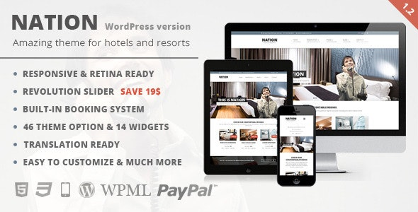 Nation Hotel - Responsive WordPress Theme - Travel Retail