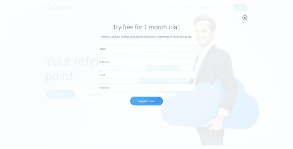 CloudUp — Hosting PSD one page Theme