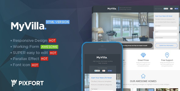 MyVilla - Real Estate HTML Landing Page - Marketing Corporate