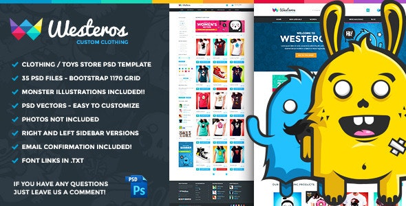 Westeros Custom Clothing PSD Template - Retail Photoshop