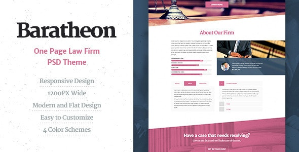 Baratheon - One Page Law Firm PSD Theme - Corporate Photoshop