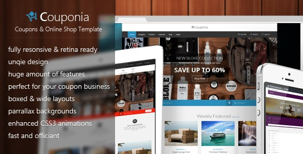Couponia - Coupons & Online Shop Template - Shopping Retail