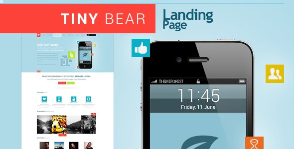Tinybear - App & Software Landing Page - Technology Site Templates