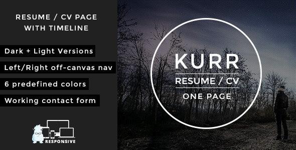 Kurr - responsive onepage resume portfolio - Resume / CV Specialty Pages