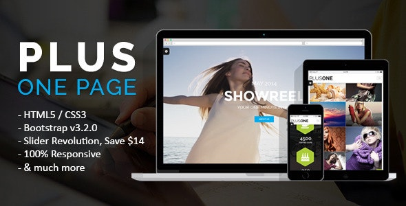 Plus One - One Page Responsive Website Template - Creative Site Templates
