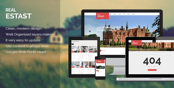 RealEstast - Real Estate PSD Template  - Retail Photoshop