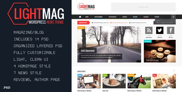 LightMag - Magazine PSD Template - Corporate PSD Templates