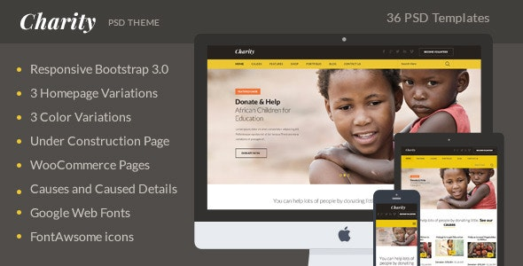 Charity PSD Theme - Charity Nonprofit