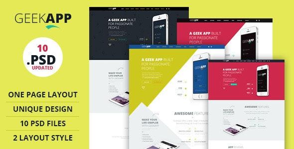 GeekApp - One Page App Landing PSD Template - Technology Photoshop