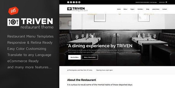 Triven - Restaurant & Winery Theme - Restaurants & Cafes Entertainment