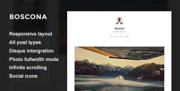 Boscona - Minimal One Column Theme - Blog Tumblr