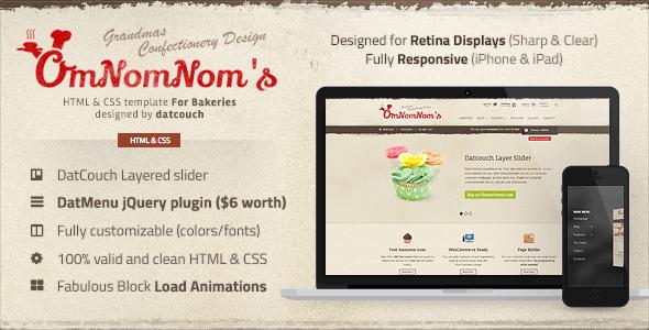 Omnomnom's - Bakeries HTML Template