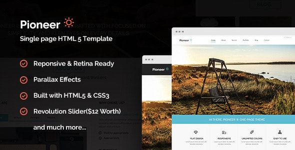 Pioneer - One Page Parallax Html Template - Corporate Site Templates
