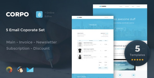 Corpo -  5 Email Corporate Set + Online Editor - Email Templates Marketing