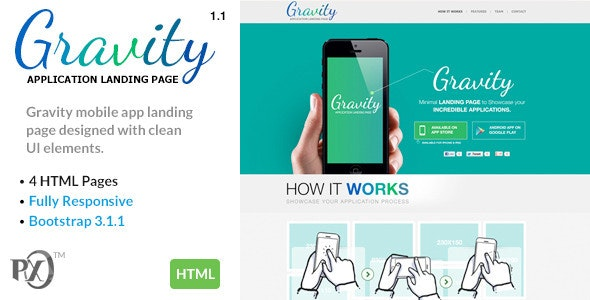 Gravity Mobile App Landing Page Responsive (HTML) - Apps Technology