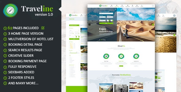 Traveline | Tour & Travel Hotel Booking Template  - Travel Retail