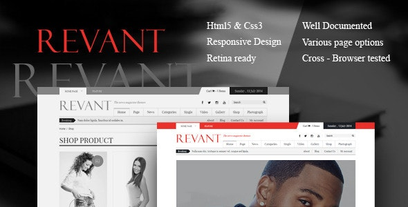 Revant Magazine HTML5 template - Corporate Site Templates