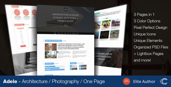 Adele One Page Parallax Fullscreen Portfolio PSD - Creative Photoshop