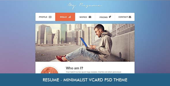 Resume - Minimalist Professional vCard PSD - Virtual Business Card Personal