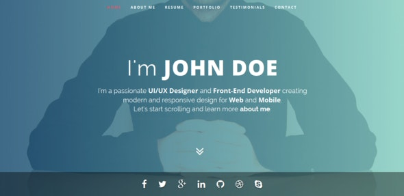 Intima - Clean & Responsive Resume Template - Virtual Business Card Personal