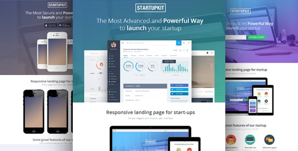 Startupkit Responsive Parallax Landing Template - Technology Landing Pages