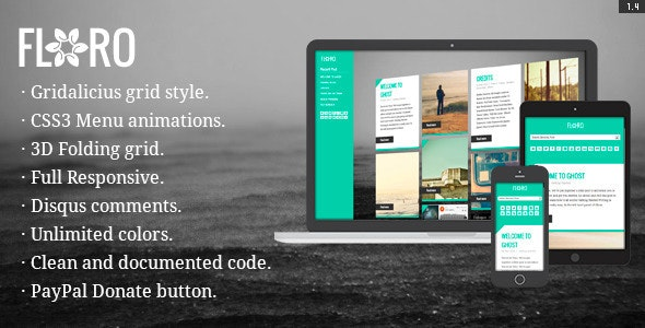 Floro - Responsive Gridalicious CSS3 Ghost Theme - Ghost Themes Blogging