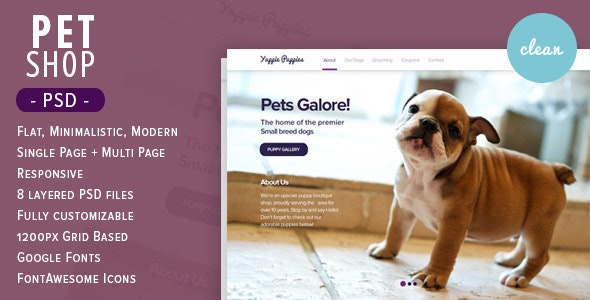 Pet Shop - Flat PSD Theme  - Retail Photoshop