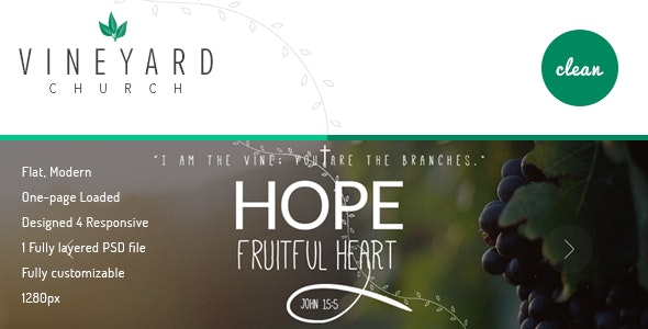 Vineyard Church - One Page PSD Template - Churches Nonprofit